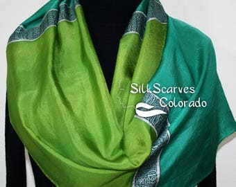Silk Scarf Hand Painted Silk Shawl Green Teal Hand Dyed Silk Scarf EMERALDS & SILVER Large 14x72. Birthday Gift Scarf Gift-Wrapped Scarf