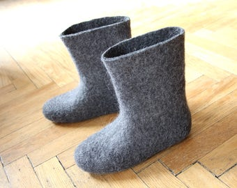 Womens slipper boots Felted Boots, Winter boots, Wet Felted Slipper Boots, Wool Booties, Handmade Boots, Undyed Natural Wool, Winter Boots