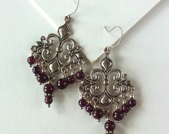 Garnet Chandelier Earrings