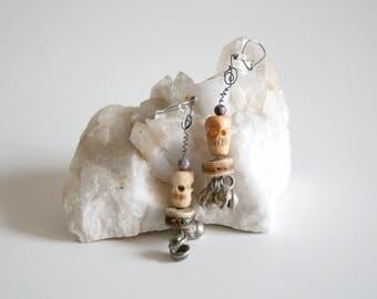 Bone Skull Tribal Earrings