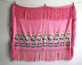 Pink Embroidered Crochet Fringe Shawl
