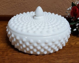 Fenton Milk Glass Hobnail Covered Candy Dish - Oak Hill Vintage
