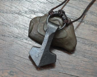 Viking Thors Hammer, a forged large ringed Iron Mjolnir Pendant