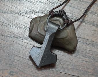 Viking Thors Hammer, a forged large ringed Iron Mjolnir Pendant