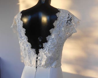 Floor length, maxi dress, Bridal dress, Wedding dress, Lace and Crepe, White,Ivory, High Fashion,Custom Order,fully lined