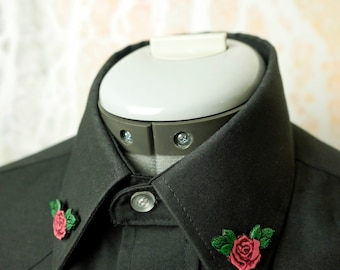 Hot Pink Leather Rose Collar Pins Brooch - Ready to ship!