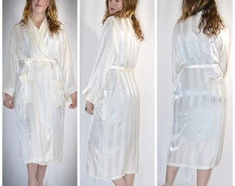 Vintage Ivory Shadow Stripe Silk Shawl Collar Robe One Size