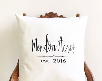 personalized pillow cover, farmhouse pillow cover, family name pillow cover, newlywed gift, wedding gift, gift for couple, housewarming gift
