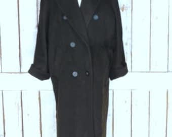 90s vintage dark brown wool/cashmere long winter coat/double breasted full length wool jacket over coat/womens 10