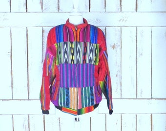 Colorful striped IKAT print vintage Guatemalan woven bomber jacket/large/xlarge