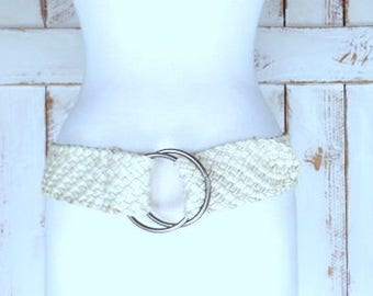 90s vintage wide ivory/off white woven faux leather cotton chord belt/ braided vegan leather statement boho belt
