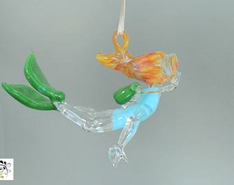Scuba Girl in Powder Blue Wet Suit - Hanging Art Glass Ornament Sculpture