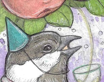 Chickadee Cheers...Original aceo