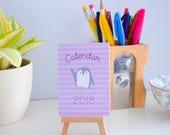 Mini Penguin Desk Calendar 2018. Cute Desk Accessory. A7 Calendar on mini Easel.