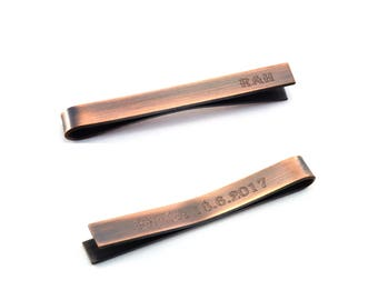 Personalised Tie Clip, Engraved Tie Pin, Copper Tie Bar, Groomsmen Gift, Secret Message, Graduation Gift for Men