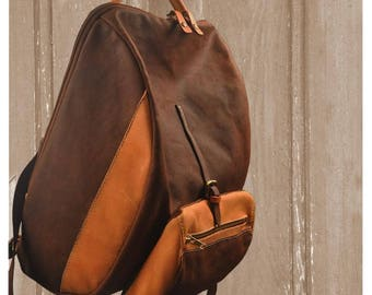 Stylish waxed canvas-leather backpack ,for men and women  ,named TILOS