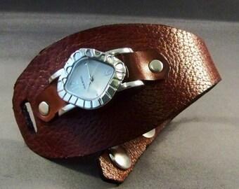 Leather watch-Women's Watch-Women Wrist Watch-Cuff Watch-Brown Leather Watch-Friendship Bracelet-Bracelet Watch-Birthday Gifts-Gifts For Her