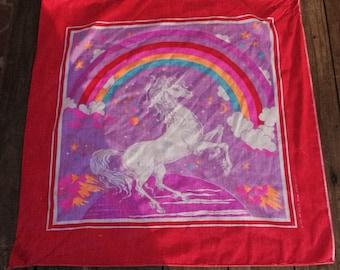 Vintage Rainbow Unicorn Hankerchief