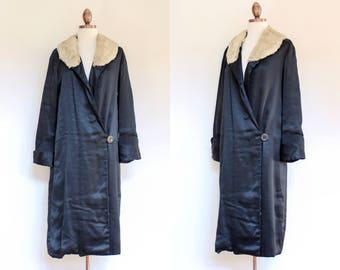 vintage 1920s black satin wrap coat   20s black silky robe coat with fur collar   XS - S
