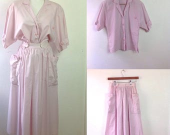 Vintage Rodier Dress  Rose Pink Stripe Blouse and Skirt  Iconic 80s Details   Pink Full Skirt  size small to medium