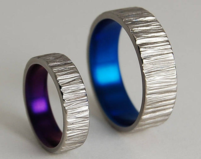 Titanium Rings , Wedding Bands , Titanium Wedding Ring Set , Promise Rings , Jupiter Bands in Mystic Purple and Nightfall Blue