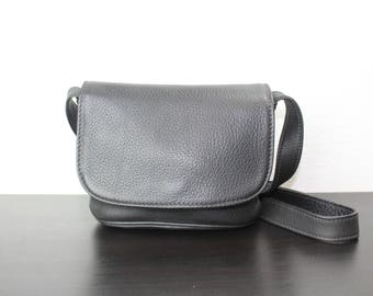 Vintage Coach Sonoma Small Flap Messenger Bag, Black Pebbled Leather, Cross Body Purse, 1990s United States 040569