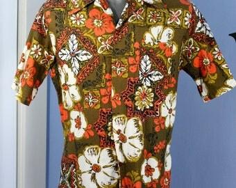 Vintage Mens 1950s 1960s Koni Kai Hawaiian Shirt Jantzen Size Large Tropical Tiki Luau Retro