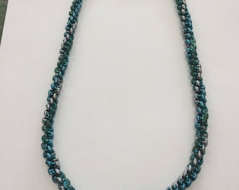 Twisted Superduo Necklace Turquoise and Silver Grey 54cm (21 inches)