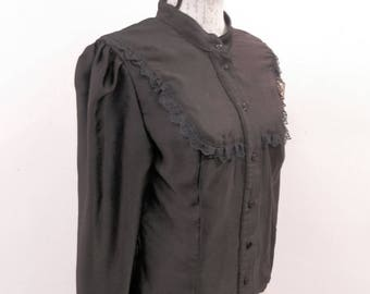 Victorian black blouse , textured strippes, Gothic Shirt , Steampunk black shirt, Black shirt