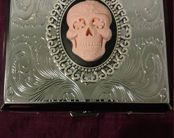 Pink Sugar Skull Stainless Steel cigarette case / wallet / card holder Dia De Los Muertes Day of the Dead
