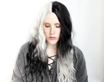 Long black wig | Wavy Blonde wig | Platinum blonde wig, White Blonde Hair wig, Split Color wig, Scene Emo wig | Black Wolf