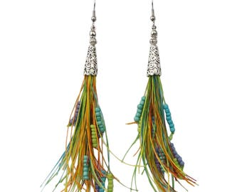 Beaded Tassel Earrings Long Bohemian Style in Multi Colored Tones with Hypoallergenic Ear Wires