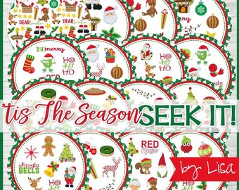 Tis the Season Christmas SEEK IT Match Game, Party Printables, Family Game Night, Matching Game Cards - Printable Instant Download by Lisa