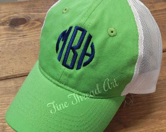 KIDS Monogram Trucker Style Baseball Cap Hat
