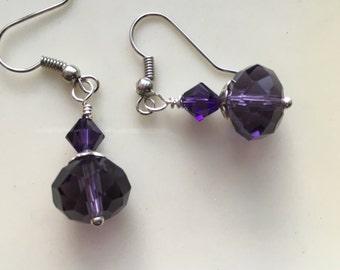 Purple Earrings, Deep Purple Earrings