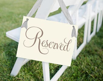 "Reserved Sign Seat Banner | Hanging Handmade Sign | ""RESERVED"" in Classic Script Font 