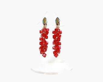 Vintage 60s Beaded Red Earrings / 1960s Lewis Segal Signed Faceted Crystal Dangle Drop Clip Earrings
