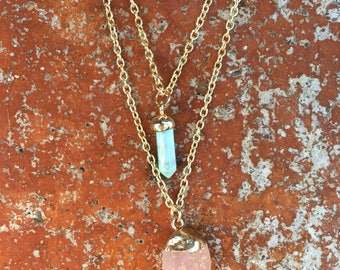 Mint Turquoise Point Charm and Peach Citrine Gold Gemstone Pendant Two Strand Layering Necklace