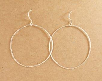 Simple Sterling Hoops - Sterling Silver Hoop Earrings - Silver Hoops - BIG Hoop Earrings - Hammered Hoops