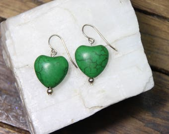 """Green Magnesite Gemstone Valentine Heart Shape 15mm x 16mm 925 Sterling Silver Wire earrings 1.25"""" Long"""