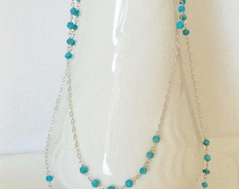 Sleeping Beauty Turquoise Handmade Necklace Wire Wrapped with  Sterling Silver Extra Long