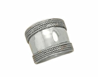 Cigar Band Ring Classic Design Sterling Silver Balinese Bali Jewelry