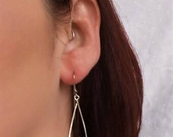 Paper bead earrings - pink bead- paper bead jewelry - first anniversary gift - ladies earrings - paper jewelry