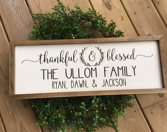 Personalized Sign, Family Name Sign, Thankful Sign, Farmhouse Sign Personalized, Personalized Gifts, Wedding Gift, Christmas Gift