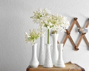set of 5 white milk glass bud starter vases / wedding decor
