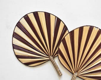 pair of 2 matching striped woven straw fans / wall baskets