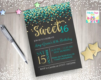 Sweet 16 Invitation sweet 16 birthday invitation sweet sixteen birthday party confetti teal gold digital DIY printable
