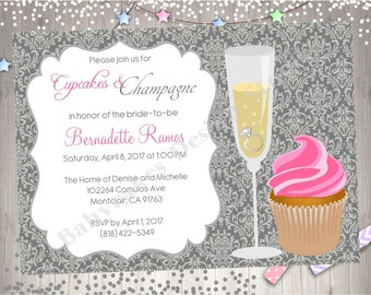 Cupcakes and Champagne Bridal Shower Invitation Invite Cupcake and Cocktails Bachelorette Party Printable Birthday