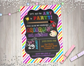 Art Party Birthday Invitation Invite Arts and Crafts Party Birthday Invitation Printable