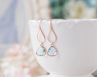 Rose Gold Aqua Blue Crystal Dangle Earrings, Aquamarine Glass Drop Earrings, Aqua Wedding Bridesmaid Earrings, Bridesmaid Gift, Pink gold